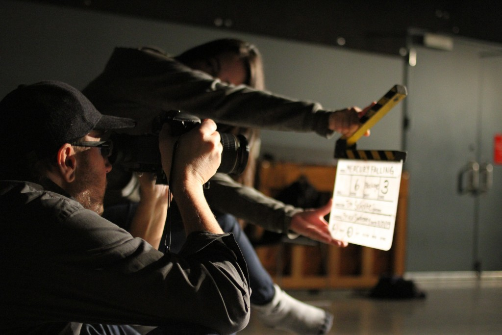 Bruce Sweeney and Nicole Yukiko Sekiya on the set of the Department of Theatre and Film's first feature: Mercury Falling. Photo by Shan Fu.